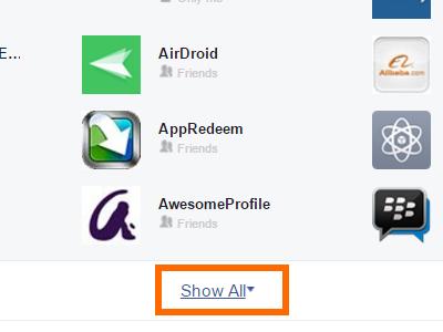 Aplikasi Pengaturan Facebook Tampilkan Semua