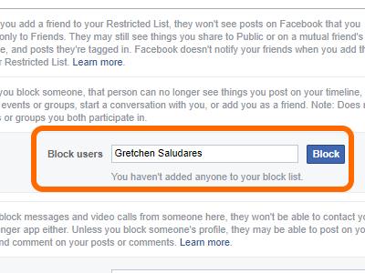 Facebook block Users Name