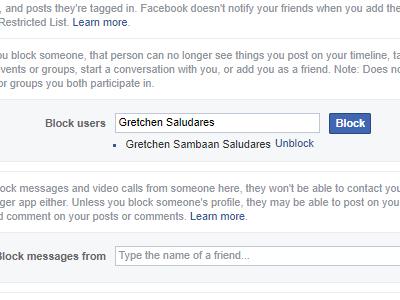 Facebook block list