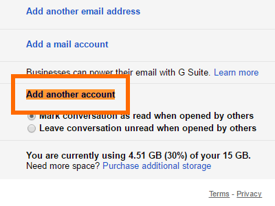 Gmail Click Settings Account and Import Grant Access Add another account