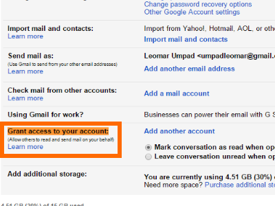 Gmail Click Settings Account and Import Grant Access