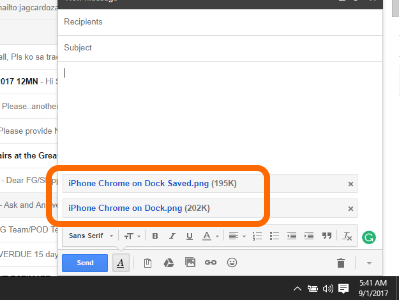 Gmail Compose 2 pictures attached