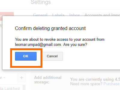 Gmail Delete Access Confirm Action OK