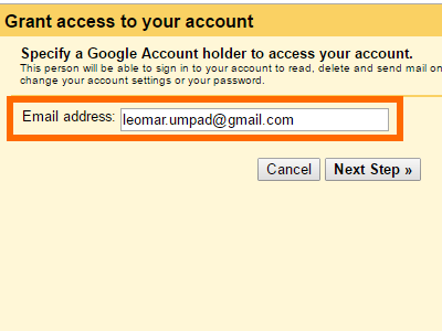 Gmail Grant Access Add another account Enter Email