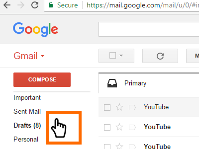 Gmail Hover Mouse to Left Part