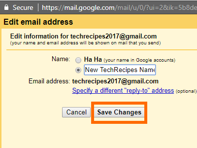 Gmail Name Details New Name Save Details
