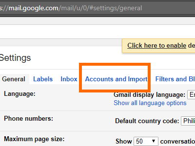 Gmail Settings Account and Import