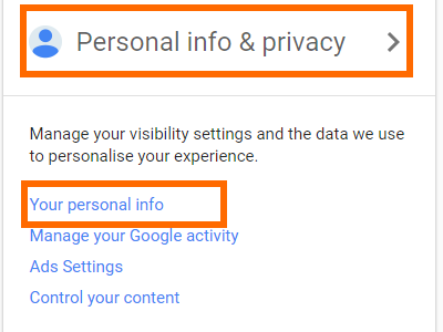 Google Account Page Personal Info and Privacy