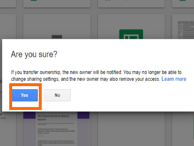 Google Drive File Change owner Confirm Changes