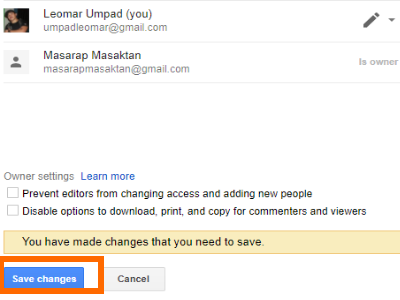 Google Drive File Change owner Save Changes
