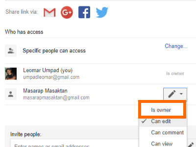 Google Drive File Share Box IS owner option