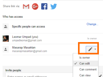 Google Drive File Share Box with Advanced Option Pencil icon