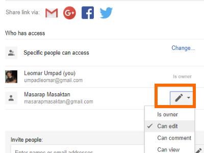 Google Drive File Share Box with Advanced Option Pencil icon