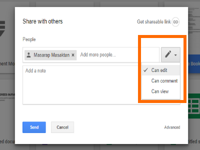 Google Drive File Share Pencil icon with Permission options