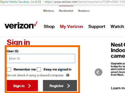 MyVerizon Wireless Log in
