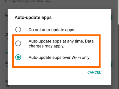 Playstore Menu Settings Auto Update Options