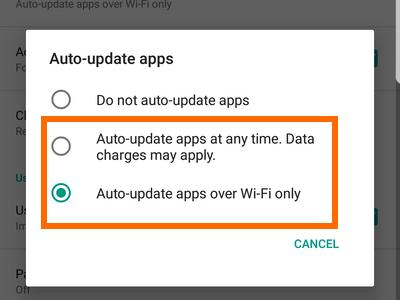 Playstore Menu Settings Auto Update Options