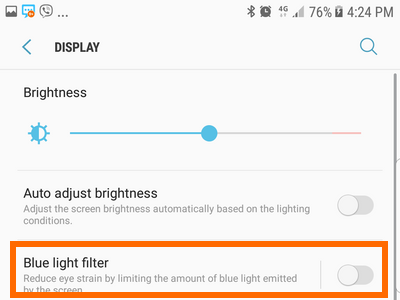 Samsung Settings Display Blue Light Switch