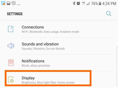 Samsung Settings Display