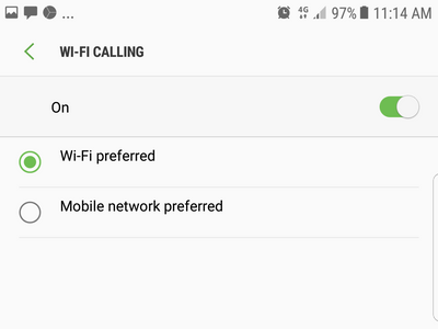 Settings Connection WiFi Calling Switch ON