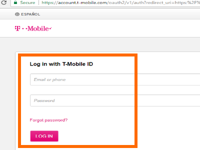 T-Mobile Login Page