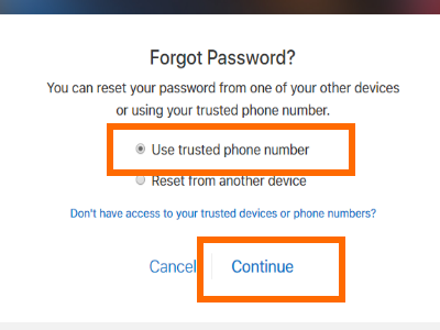 Use Trusted Phone Number to Reset
