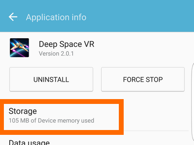 application infor Storage Settings