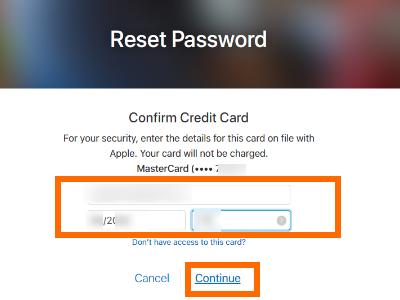 iCloud Account Credit Card details