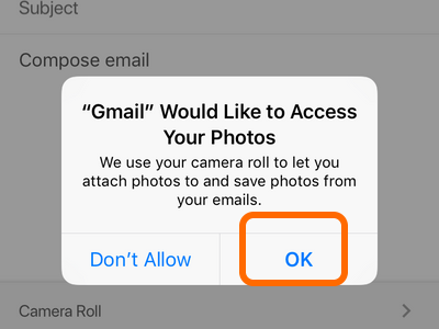 iPhone Gmail App Photos Permissions OK