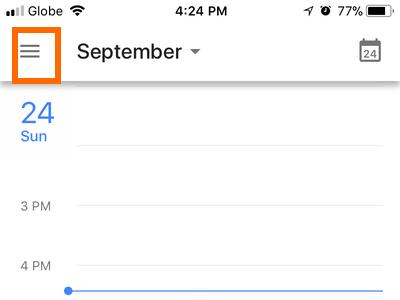 iPhone Google Calendar menu