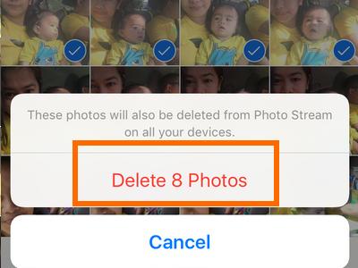 iPhone Photo album Delete Photos
