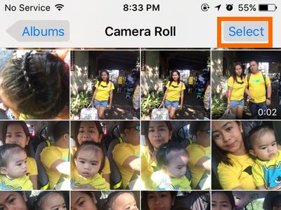 iPhone Photo album Select button