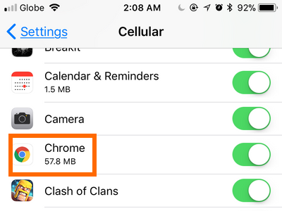 iPhone Settings Cellular App Data use
