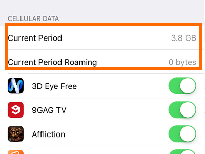 how to find data usage on iphone