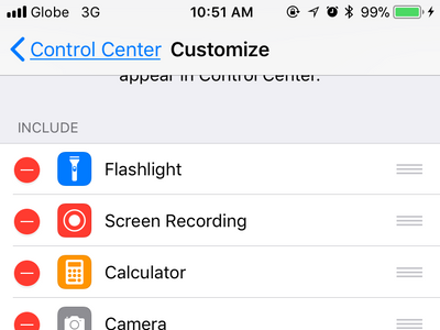 iPhone Settings Control Center Customize Page