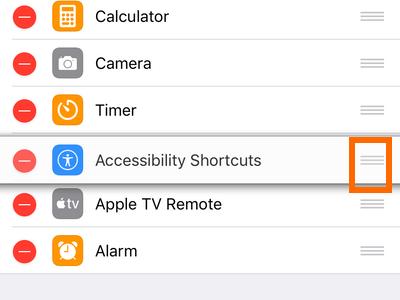 iPhone Settings Control Center Handle Icon Rearrange Controls