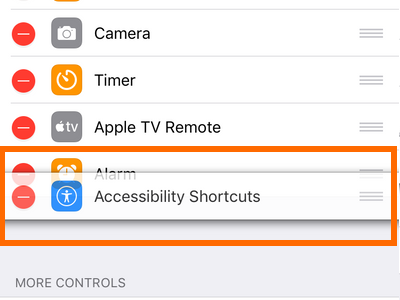 iPhone Settings Control Center Handle Icon Rearrange Move