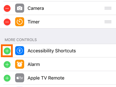 iPhone Settings Control Center Page Add Control