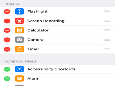 iPhone Settings Control Center Page