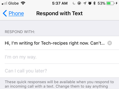iPhone Settings Phone Respond With Text Custom Message Done