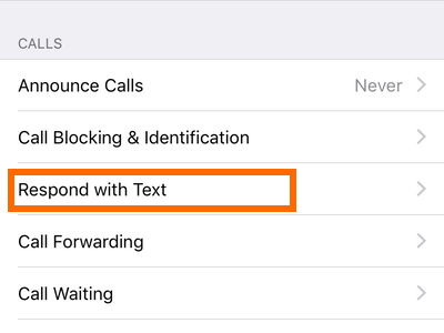 iPhone Settings Phone Respond With Text