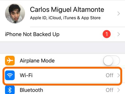 iPhone Settings Wifi