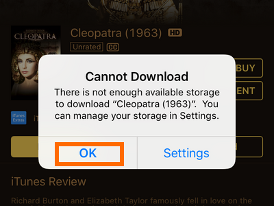 iTunes Media Download Insufficient Storage Left