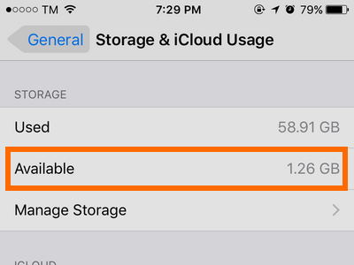 iphone Settings New Available Storage
