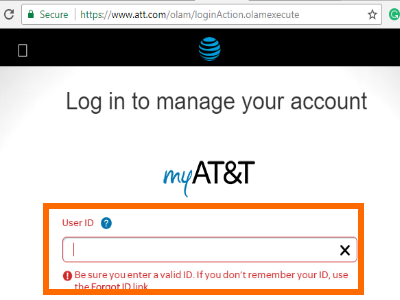my AT&T Login Page