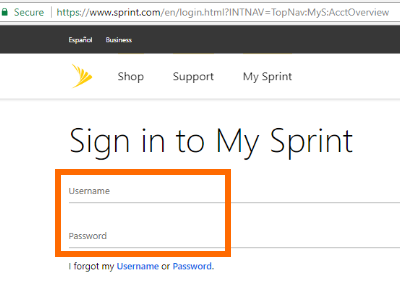 my Sprint Login Page