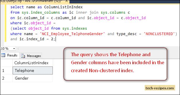 Non_Clustered_Index_SQL_Server_Column_List