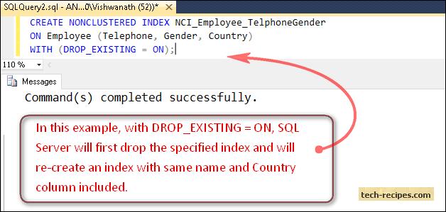 Non_Clustered_Index_SQL_Server_Column_Drop_Existing_On