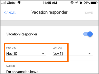 Gmail App Menu Settings Gmail Account Vacation Responder Start and End Date