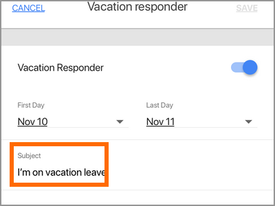 Gmail App Menu Settings Gmail Account Vacation Responder Subject
